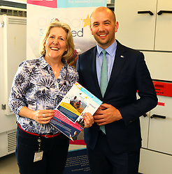 Ben macpherson minister for migration with Prof Elizabeth Cother-Cook at SAMS Dunbeg Oban   on the ministers visit to      Argyll and Bute  picture kevin mcglynn