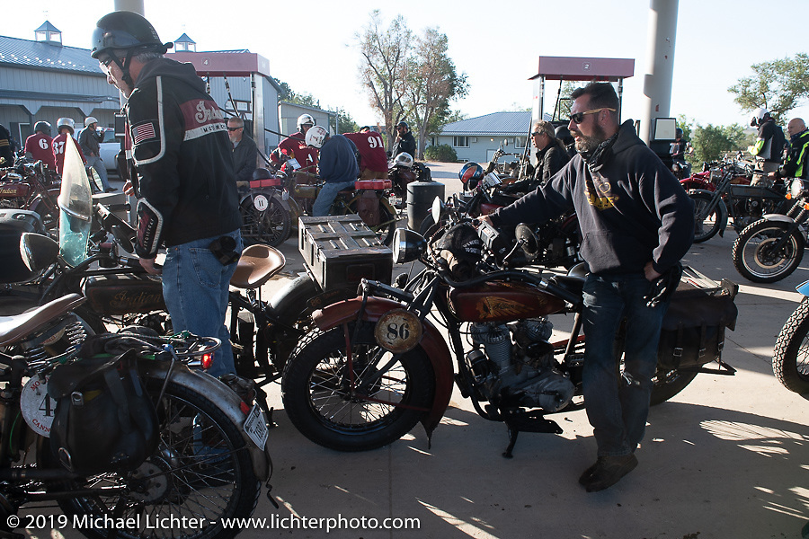 Shane Masters with his 1925 Indian Chief in the Motorcycle Cannonball coast to coast vintage run. Stage 9 (294 miles) from Pierre to Sturgis, SD. Sunday September 16, 2018. Photography ©2018 Michael Lichter.