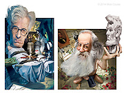 Caricatures: William Butler Yeats has monkey glands implanted. Walt Whitman has a secret crush on Abe Lincoln. Photoshop for Penthouse Feature Article.