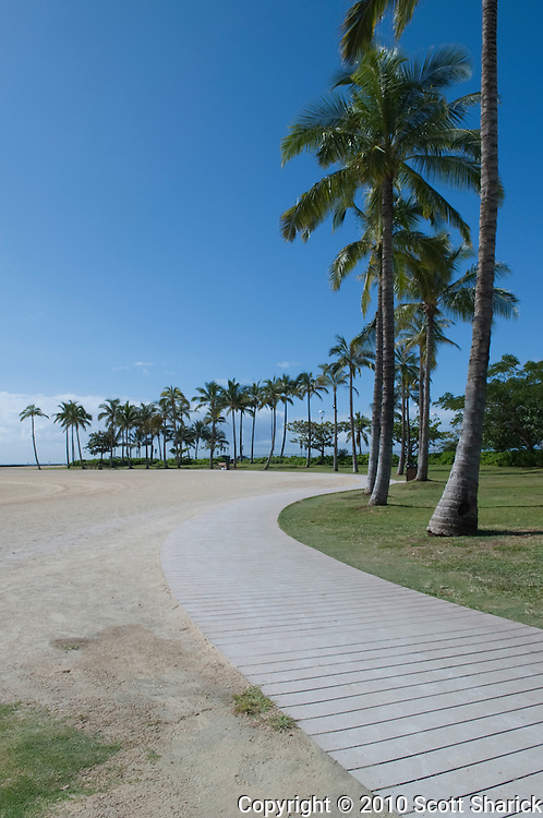 During a tsunami warning all of the beaches in Waikiki were deserted.