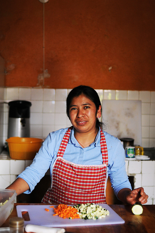 Rosie, a cook at Black Cat Hostel in Xela, Guatemala.