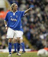 Photo. Aidan Ellis.Digitalsport<br /> Birmingham City v Bolton Wanderers.<br /> FA Barclaycard Premiership.<br /> 06/03/2004.<br /> Birmingham's Robbie Savage points an accusing finger at Bolton's Ivan Campo