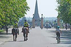 ©Licensed to London News Pictures 22/04/2020  <br /> Greenwich, UK. Mounted police on patrol. People out and about in Greenwich park, Greenwich, London exercising and enjoying the warm sunny weather. Photo credit:Grant Falvey/LNP