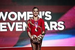 November 2, 2018 - Doha, Qatar - Elisabeth Seitz of Germany with bronze medal for uneven bars at the Aspire Dome in Doha, Qatar, Artistic FIG Gymnastics World Championships on 2 of November 2018. (Credit Image: © Ulrik Pedersen/NurPhoto via ZUMA Press)