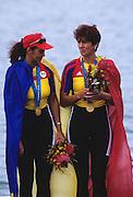 Sydney, AUSTRALIA, ROM W2- Gold medallist  DAMIAN  Georgeta and IGNAT Doina, on the medal podium , at the 2000 Olympic Regatta, Penrith Lakes. [Photo Peter Spurrier/Intersport Images] 2000 Olympic Regatta Sydney International Regatta Centre (SIRC) 2000 Olympic Rowing Regatta00085138.tif