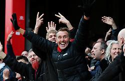 Bristol City fans celebrate as Richard O'Donnell of Bristol City makes a save from a penalty  - Mandatory by-line: Dougie Allward/JMP - 16/04/2016 - FOOTBALL - Griffin Park - Brentford, England - Brentford v Bristol City - Sky Bet Championship