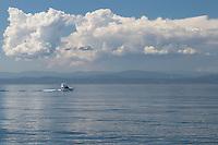 Yacht sailing Haro Strait off coast of San Juan Island Washington
