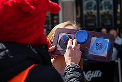 An Ospreys fan has faceprint applied<br /> <br /> Photographer Simon King/Replay Images<br /> <br /> Guinness PRO14 Round 21 - Dragons v Scarlets - Saturday 27th April 2019 - Principality Stadium - Cardiff<br /> <br /> World Copyright © Replay Images . All rights reserved. info@replayimages.co.uk - http://replayimages.co.uk