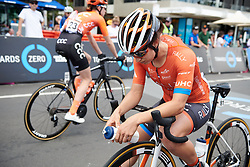 Sara Bergen (CAN) waits for the start at Deakin University Elite Women Cadel Evans Road Race 2019, a 113 km road race starting and finishing in Geelong, Australia on January 26, 2019. Photo by Sean Robinson/velofocus.com