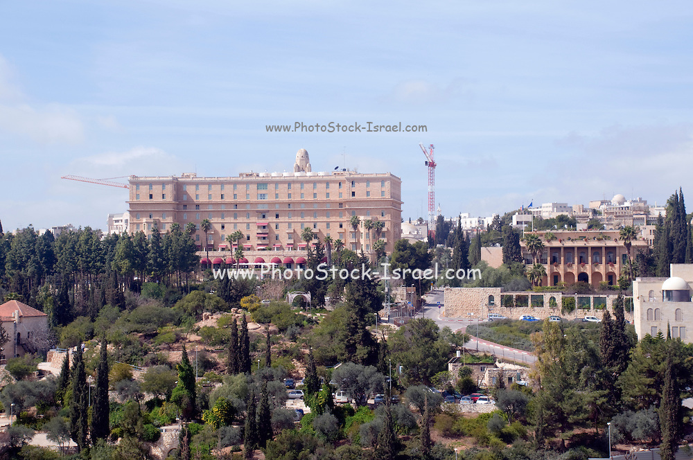 Israel, Jerusalem, King David Hotel and Yemin Moshe neighbourhood overlooks the Old City