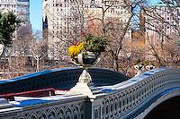 US, New York City, Central Park. Bow Bridge. The Ramble and Lake.