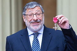 Rabbi Warren Elf proudly displays his OBE for services to the community in Manchester at an investiture ceremony conducted by Prince William, Duke of Cambridge at Buckingham Palace. London, May 09 2019.