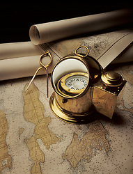 binnacle compass on maps