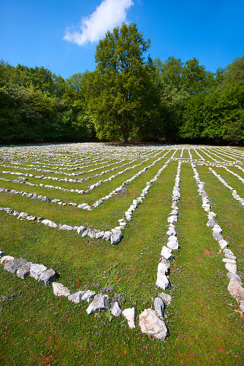 Lada's Labyrinth - Replica of an acient Roman Labyrinth of Pula,  Tramuntana Forest, Cres Island Croatia .<br /> <br /> Visit our CROATIA HISTORIC SITES PHOTO COLLECTIONS for more photos to download or buy as wall art prints https://funkystock.photoshelter.com/gallery-collection/Pictures-Images-of-Croatia-Photos-of-Croatian-Historic-Landmark-Sites/C0000cY_V8uDo_ls