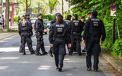 "May 25, 2019 - Dortmund, Nordrhein Westfalen, Germany - Police commandos from the state of NRW.  Prior to the European Elections, the neonazi party Die Rechte (The Right) organized a rally in the German city of Dortmund to promote their candidate, the incarcerated Holocaust denier Ursula Haverbeck.  The demonstration and march were organized by prominent local political figure and neonazi activist Michael Brueck (Michael Brück) who enlisted the help of not only German neonazis, but also assistance from Russian, Bulgarian, Hungarian, and Dutch groups with the final tally ranging from 180-250.  The police reported various incidents, including forbidding the use of a banner with former President of Iran Ahmadenijad, who the group states is an ally.  Later, the parade was stopped due to the use of ""here we are, the national resistanceâ (Credit Image: © Sachelle Babbar/ZUMA Wire)"