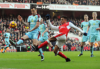 Football - 2016 / 2017 Premier League - Arsenal vs. Burnley<br /> <br /> Alexis Sanchez of Arsenal and  Dean Marney of Burnley at The Emirates.<br /> <br /> COLORSPORT/ANDREW COWIE