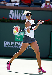 March 9, 2019 - Indian Wells, CA, U.S. - INDIAN WELLS, CA - MARCH 09: Madison Keys (USA) hits a forehand during the second round of the BNP Paribas Open on March 09, 2019, at the Indian Wells Tennis Gardens in Indian Wells, CA. (Photo by Adam Davis/Icon Sportswire) (Credit Image: © Adam Davis/Icon SMI via ZUMA Press)