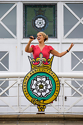 © Licensed to London News Pictures. 09/07/2018. Harrogate UK. Singer Lizzie Jones who's husband rugby league player Danny Jones died following a cardiac arrest while playing for Keighley Cougars in 2015 will make history as the first singer to sing in the Main ring at the 160th Great Yorkshire Show which starts tomorrow.  Photo credit: Andrew McCaren/LNP