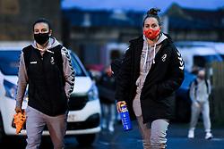 Chloe Logarzo of Bristol City Women and Ella Mastrantonio of Bristol City Women arrives at Twerton Park prior to kick off - Mandatory by-line: Ryan Hiscott/JMP - 14/11/2020 - FOOTBALL - Twerton Park - Bath, England - Bristol City Women v Tottenham Hotspur Women - Barclays FA Women's Super League