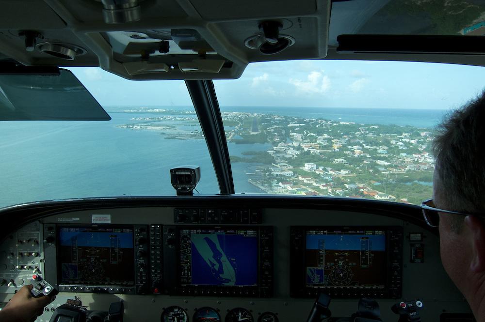 San Pedro, Belize 8/31/2012.The San Pedro Airport seen through the windshield of our Tropic Air flight..Alex Jones / www.alexjonesphoto.com