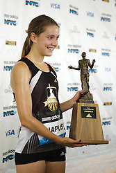 Samsung Diamond League adidas Grand Prix track & field; Dream Mile, High School Girls, Cami Chapus, post-race mixed zone with trophy