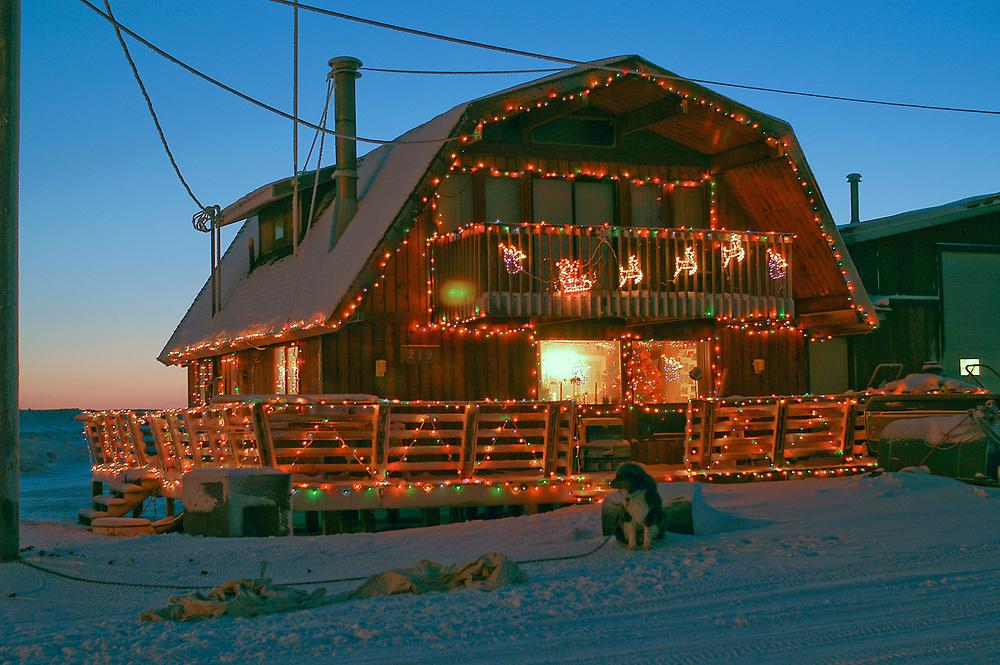 Alaska, Barrow. Margareth Opie's house with Christmas decorations. December 2003