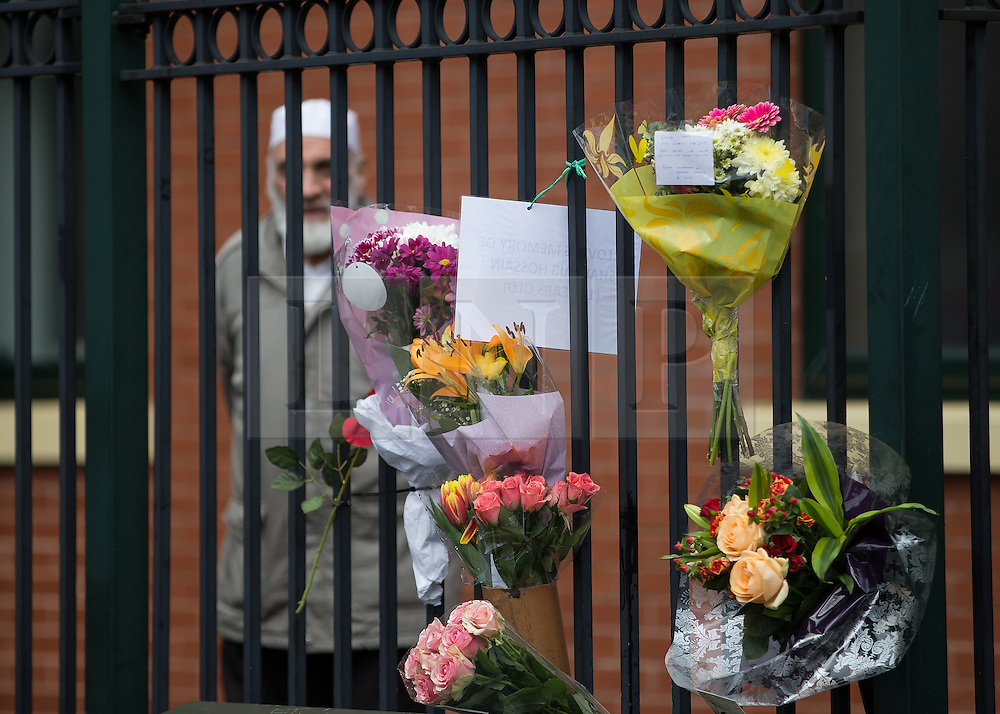 © Licensed to London News Pictures . 01/03/2016 . Manchester , UK . Flowers left outside the Masjid Hamza Mosque on Moss Lane West in Ashton Under Lyne , at the scene where 11 year old Shahzaib Hussain was killed by a hit and run driver yesterday evening (Monday 29th February 2016) . Photo credit : Joel Goodman/LNP