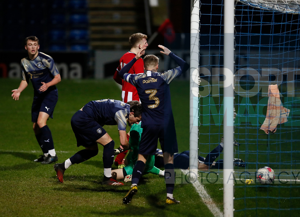 Reece York of Sheffield Utd scores the equalising goal during the Professional Development League  match at the Proact Stadium, Chesterfield. Picture date: 3rd February 2020. Picture credit should read: Simon Bellis/Sportimage