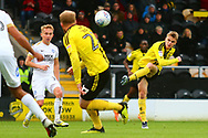 Burton Albion midfielder Jake Hesketh (8) shoots at goal during the EFL Sky Bet League 1 match between Burton Albion and Peterborough United at the Pirelli Stadium, Burton upon Trent, England on 27 October 2018.