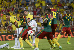 June 13, 2017 - Getafe, Spain - Radamel Falcao of Colombia fights the ball before the mark Stéphane M'Bia of Cameroon, friendly match played in the stadium Coliseum Alfonso Perez, in Getafe, Tuesday June 13, 2017. (Credit Image: © Luis Salgado/NurPhoto via ZUMA Press)