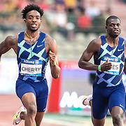 BRUSSELS, BELGIUM:  September 3:   Michael Cherry of the United States and Kirani James of Granada in action in the 400m for men race during the Wanda Diamond League 2021 Memorial Van Damme Athletics competition at King Baudouin Stadium on September 3, 2021 in  Brussels, Belgium. (Photo by Tim Clayton/Corbis via Getty Images)