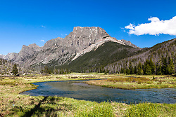 Flat Top Mountain and and Clear Creek running high with spring Runoff. This is high in the Wind River Mountains of Western Wyoming.