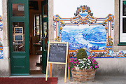 wine shop azulejos at train station pinhao douro portugal