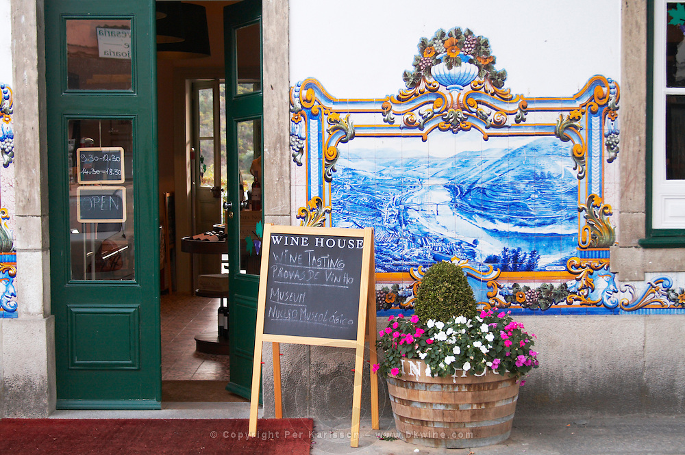 wine shop azulejos at train station pinhao douro portugal