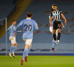 Jacob Murphy of Newcastle United (R) in action - Mandatory by-line: Jack Phillips/JMP - 26/12/2020 - FOOTBALL - Etihad Stadium - Manchester, England - Manchester City v Newcastle United - English Premier League