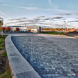 The Bayside Trail in Portland, Maine. This is a former rail line converted to a multi-use trail. HDR.