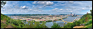 Panoramic photograph of spectacular view of Pittsburgh, Pennsylvania.  Print Size (in inches): 15x4.5; 24x7.5; 36x11; 48x15; 60x18.5; 72x22.5