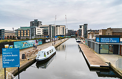 Union Canal at Fountainbridge  property development in Edinburgh, Scotland, United Kingdom.