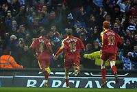 Photo: Paul Greenwood.<br />Man City v Reading. The Barclays Premiership. 03/02/2007. Readings Leroy Lita, far left, runs away towards the Reading fans in celebration