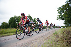 Chantal Hoffmann approaches the end of the third gravel sector at the Crescent Vargarda - a 152 km road race, starting and finishing in Vargarda on August 13, 2017, in Vastra Gotaland, Sweden. (Photo by Sean Robinson/Velofocus.com)