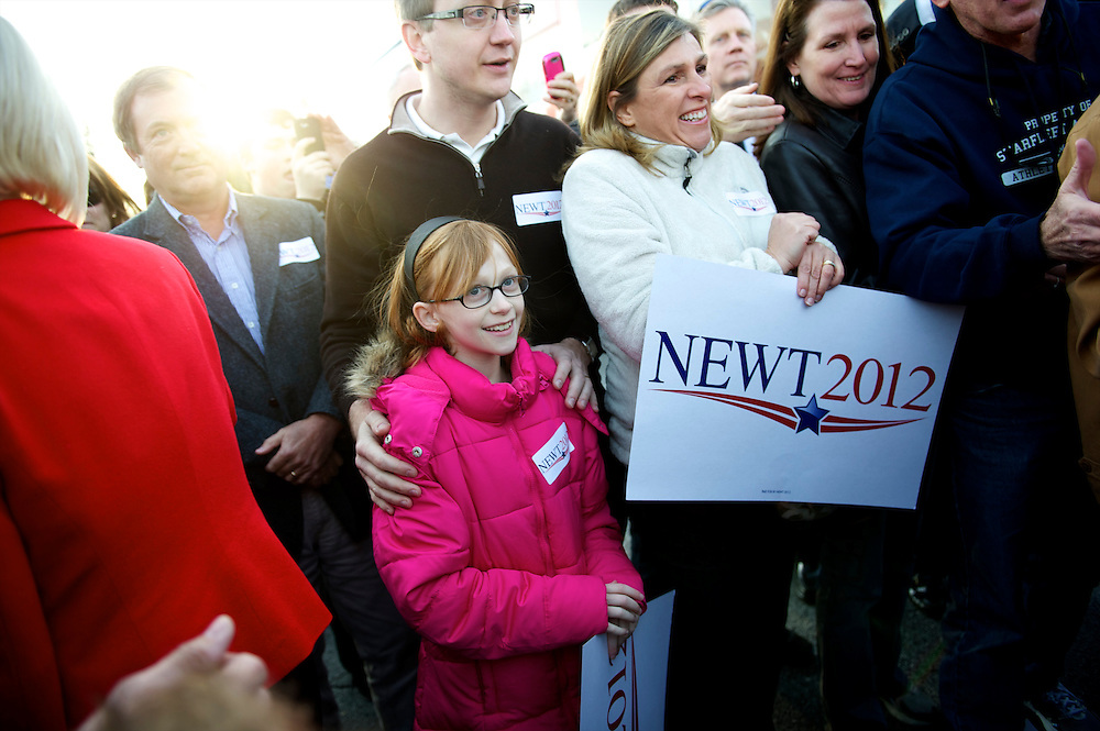 KIRSTEN GARMON, 9, awaits the chance to meet Republican Presidential candidate Newt Gingrich who held a town hall meeting at Mutt's Restaurant.  The South Carolina primary is on 21 January.