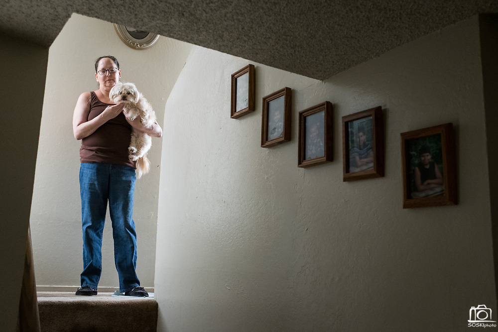 Patricia Lopez-Ruiz poses for a portrait at her home in the Sunnyhills Apartments in Milpitas, California, on May 26, 2017. Lopez-Ruiz has lived at the apartment complex for 22 years with her two sons and is facing eviction due to the owner's desire for luxury apartments. (Stan Olszewski/SOSKIphoto)