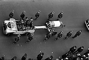 The remains of Roger Casement, Irish Patriot, were removed from the Military Church, Arbour Hill, where they lay in state for 4 days, to the Pro-Cathedral..Roger Casement's coffin on a gun carriage, passing through Westmoreland Street, en route to the Pro-Cathedral..18.02.1965 Photos, Photo, Snap, Streets, Street,