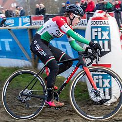 2020-01-01 Cycling: dvv verzekeringen trofee: Baal: Hungarian national champion Kata Blanka Vas cornering in Baal