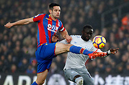 Oumar Niasse of Everton (R) battles with Scott Dann of Crystal Palace (L). Premier League match, Crystal Palace v Everton at Selhurst Park in London on Saturday 18th November 2017.<br /> pic by Steffan Bowen, Andrew Orchard sports photography.