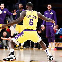 LOS ANGELES, CA - MAR 26: Lance Stephenson (6) of the Los Angeles Lakers celebrates during a game on March 26, 2019 at the Staples Center, in Los Angeles, California.