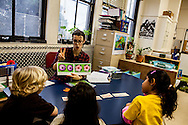 Emily Starr Bean teaches a lesson to Melrose Leadership Academy kindergarten students in Oakland. MLA is dual immersion Oakland Unified School District school; it is not a charter school.