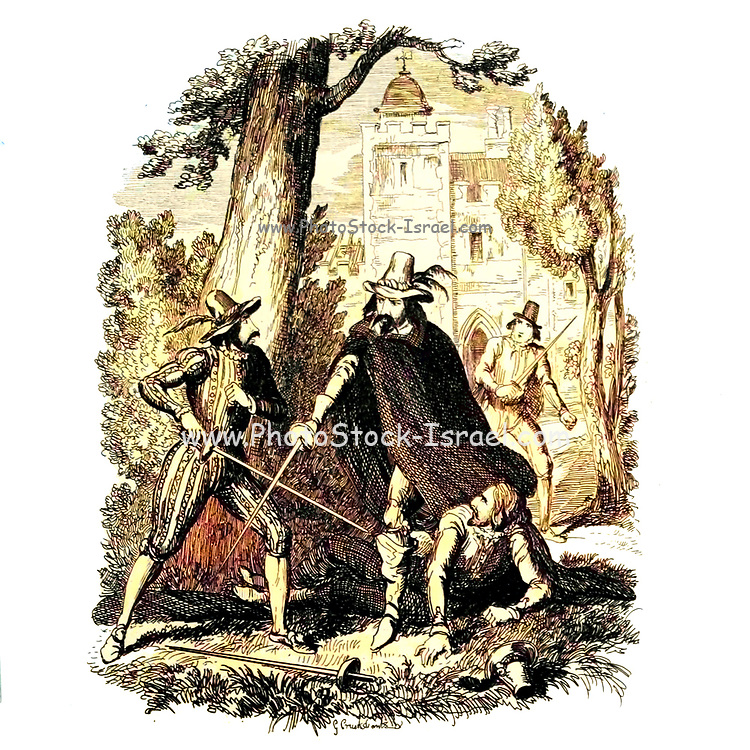 Guy Fawkes protecting Humphrey Chetham from Catesby From the book ' Guy Fawkes; or, The gunpowder treason. An historical romance ' by William Harrison Ainsworth, with illustrations on steel by  George Cruikshank. Published in London, by George Routledge and sons, limited in 1841. Guy Fawkes (13 April 1570 – 31 January 1606), also known as Guido Fawkes while fighting for the Spanish, was a member of a group of provincial English Catholics who was involved in the failed Gunpowder Plot of 1605. He was born and educated in York; his father died when Fawkes was eight years old, after which his mother married a recusant Catholic.