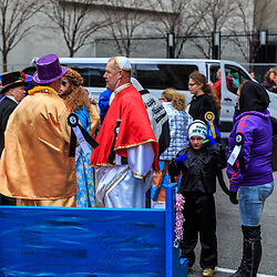 Philadelphia, PA, USA - January 1, 2016: The Mummers spoofed the Papal Visit during the annual New Years Day Parade in Philadelphia.