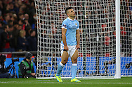 Sergio Aguero of Manchester City pulls up his shorts as he reacts after missing a chance to score. Capital One Cup Final, Liverpool v Manchester City at Wembley stadium in London, England on Sunday 28th Feb 2016. pic by Chris Stading, Andrew Orchard sports photography.